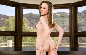 Young amateur models Layla Sin & Aubrey Star pose tight butts for lesbo shoot