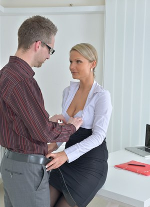 Lusty office slut enjoys being pounded really hard from behind