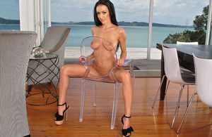 Erotic babe Breanne Benson toying bald muff with dildo for creampie closeup