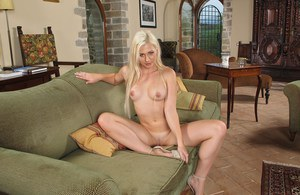 Hot blonde Tracy Delicious strips naked for toying of pussy and asshole