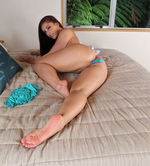 Solo girl Mischa Brooks does a striptease before toying her twat and asshole