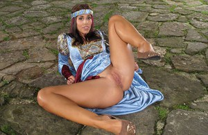Medieval princess Satin Bloom spreading pussy and toying ass in the courtyard
