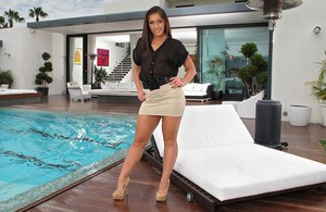 Brunette Mischa Brooks flashing panty upskirt & toying bald twat by the pool