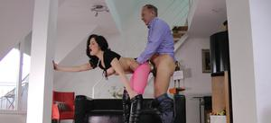 Girl with black hair gets banged by an old man in crotchless hose and boots