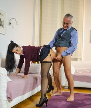 Brunette schoolgirl works out her daddy issues while fucking an old man