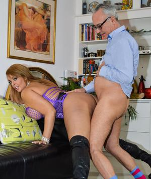 Thick chick in over the knee boots and slutty dress sucks and fucks an old man