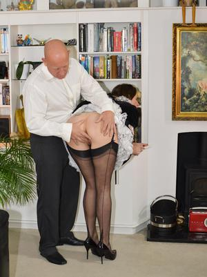 Tall female Lara Latex gets banged by a big cock in French maid attire