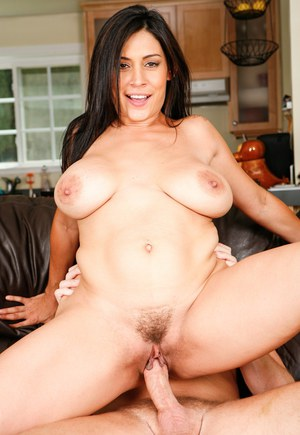 Latina female with a tattoo on her ass and big tits tastes jizz after fucking