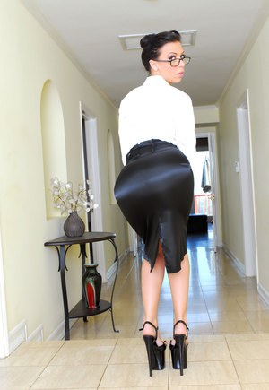 Hot classy MILF in glasses teasing in heels with her hot ass in tight skirt