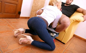 Sexy mature blonde in jeans  heels fucking doggystyle with hot reality blowob