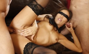 Blindfolded Kalina Ryu pussy & face fucked with ass cumshot in hot 3some