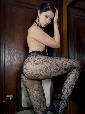 Stunning goddess Brookelynne Briar captivates in black pantyhose  pasties