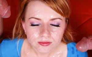Clothed model Lexi Belle getting face covered in cum after riding cowgirl