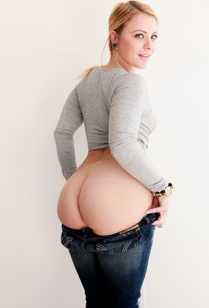 Blonde woman Cameron Canada slipping big white ass out of denim jeans