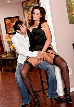 Cougar Magdalene St Michaels seducing Johnny Castle wearing sexy lingerie