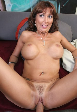 Older mature Desi Foxx with big fake tits sucking cock & getting cum on pussy