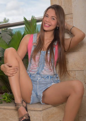 Cutie Kiara Lorens sheds shorts to show small teen tits & toy on the balcony