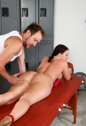 Big titted Sophie Dee gets oiled ass licked & massaged & fucks doggystyle
