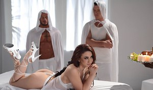 Right now Mandy Muse needs to rest, because tomorrow she'll be taken aside by a secret society who plan to use her body for a secret ritual of strange sexuality. After getting dressed in a leather corset that left her tits and thick latina booty exposed,