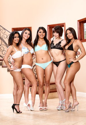 Hot ass tarts decked out in high heels prepare for steamy lesbian orgy