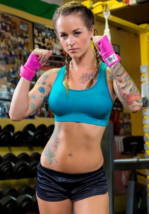 Tattooed sports girl Sammie Six in pigtails doffs shorts to spread hot ass