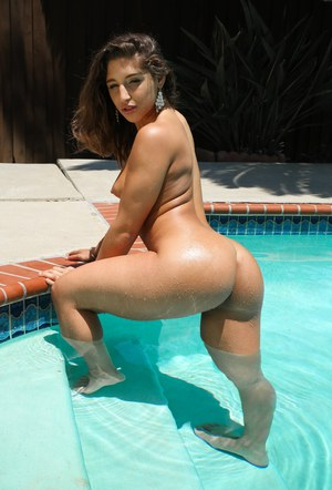 Hot slut Abella Danger in swimsuit flaunting nice tits  big ass in pool