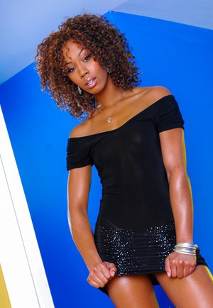 Black beauty Misty Stone peels off skirt to flaunt her very tiny oiled titties