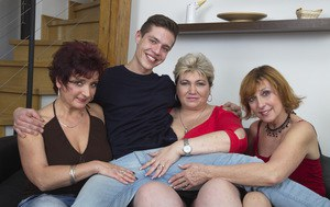 Three kinky mature housewives in a foursome with a horny young student