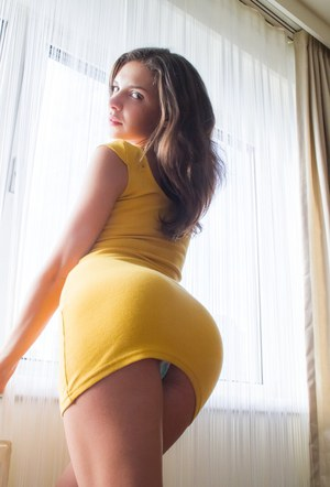 Hot brunette Henessy in tight dress flashes nude upskirt  spreads ass wide