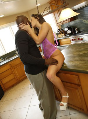 Hot housewife Abella Danger gets her muff blacked & creampied in the kitchen