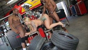 Curvy blonde female Ryan Conner walks in a bangs 2 black mechanics