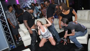 Slutty wife Brooke Wylde gets gangbanged by black men while her cuck watches
