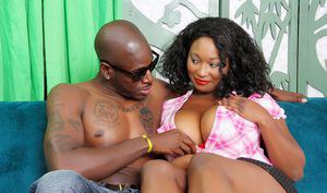 Busty ebony honey Marie Leone sucks a big black dick and then takes it up her plump twat