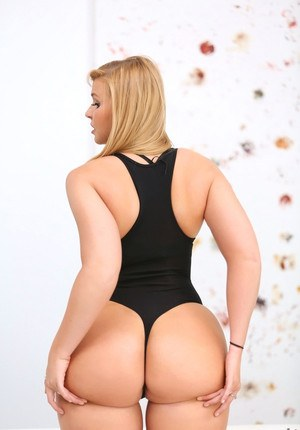 Beautiful blonde in socks and hot lingerie bares big ass  gets sperm on face