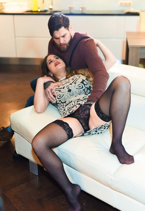 MILF pornstar Cathy Heaven seduces sex from bearded hipster in black nylons