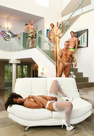 Sexy ebony Misty Stone in white stockings gets face covered in cum in gangbang