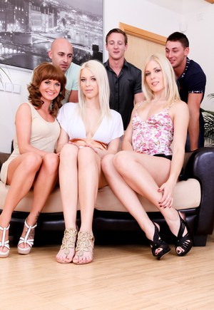 Hot babes Sandy E  Bella Baby in heels fucking doggystyle in wild groupsex
