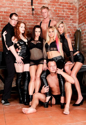 Hot chicks in leather and latex get busy during group sex fucking in dungeon