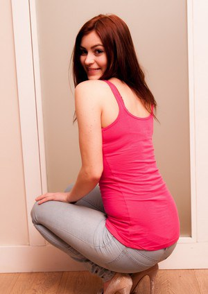 Sexy redhead Summer St Claire strips off jeans and pretties in her hallway