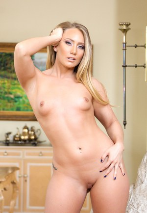 Stunning AJ Applegate in her very first anal DP threesome on the sofa