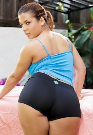 Pornstar Keisha Grey flashes nice melons before freeing big ass from shorts