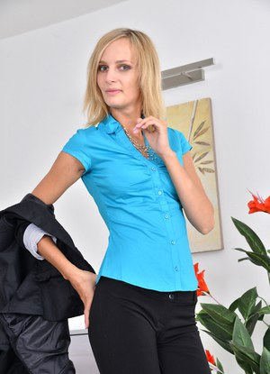 Mature blonde secretary showing cameltoe and peeling at the office