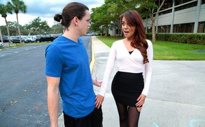Horny Latina welcomes the new neighbor wearing crotchless pantyhose