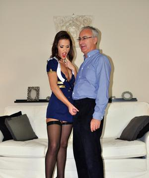 Old dude Jim Slip fucks a sexy stewardess in provocative stockings