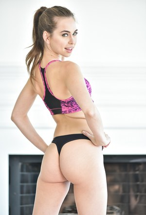 Dirty Riley Reid can't keep her yoga pants on and strips nude on her yoga mat