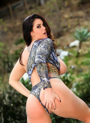 Hot pornstar Alison Tyler in sexy lingerie outdoors flashing her pierced pussy