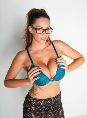 Glasses clad Alison Tyler peels her tight skirt to expose her huge big tits