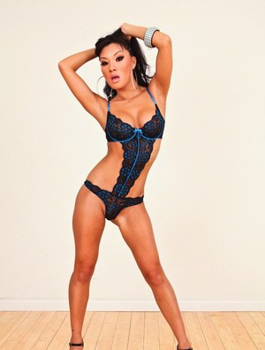 Sultry Asian model Asa Akira struts non nude in hot lingerie and a thong