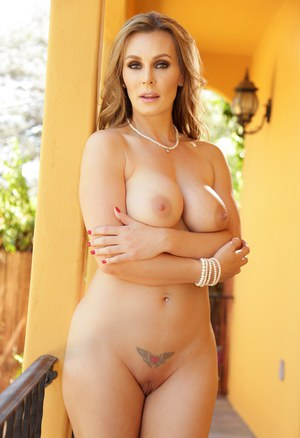 Tattooed Tanya Tate removing sexy underwear to flaunt big tits and bald beaver