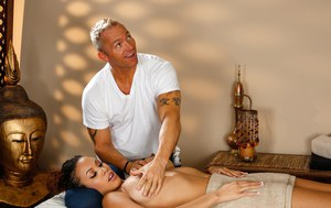 Exotic Serena Ali receives a hot massage and hot cumshot from a horny masseur